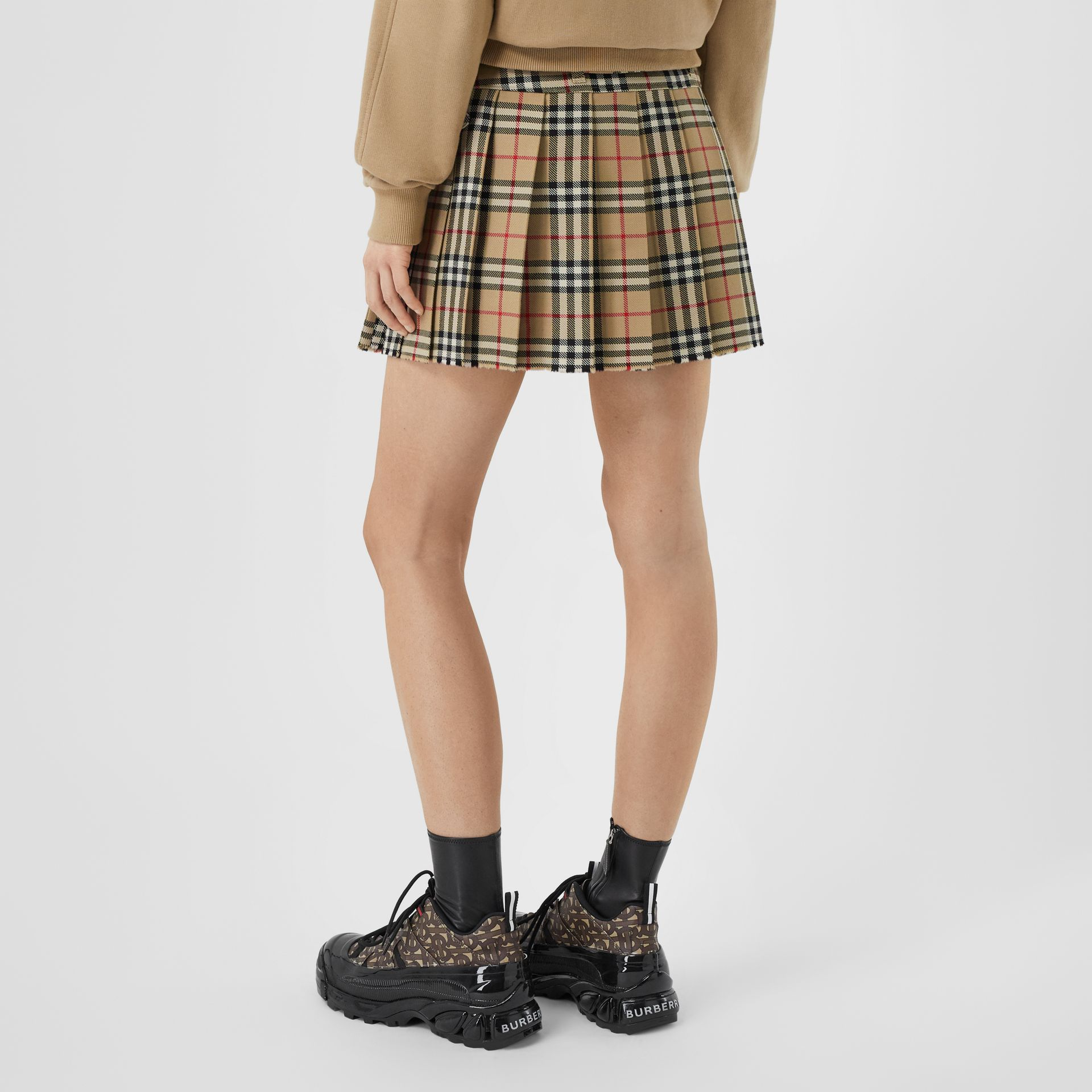Vintage Check Wool Twill Kilt in Archive Beige - Women | Burberry United Kingdom - gallery image 2