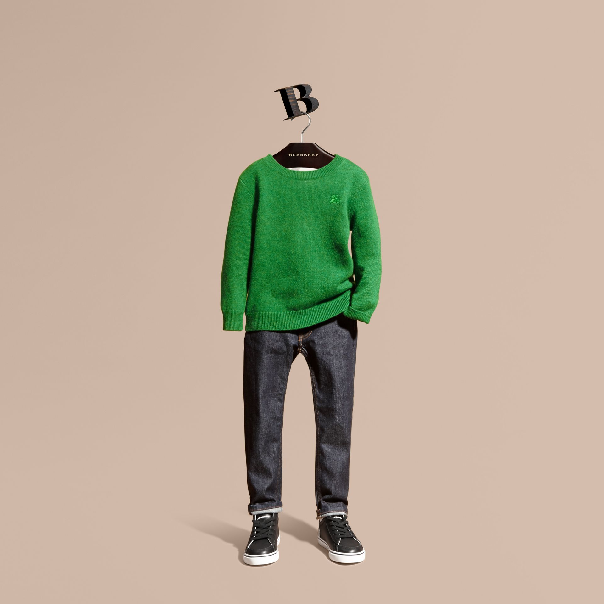 Check Elbow Patch Cashmere Sweater in Bright Pigment Green - gallery image 1