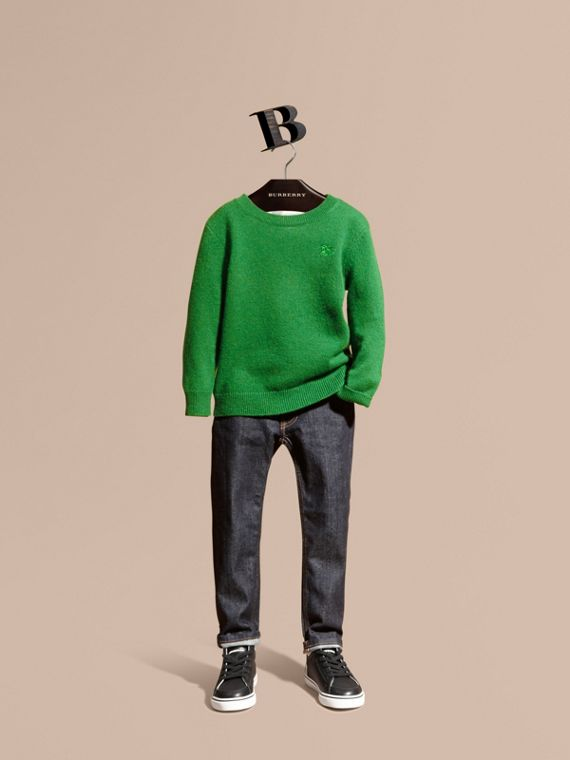 Check Elbow Patch Cashmere Sweater Bright Pigment Green