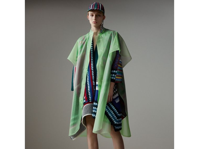 Cashmere Wool Blend Patchwork Poncho in Multicolour | Burberry Singapore - cell image 4