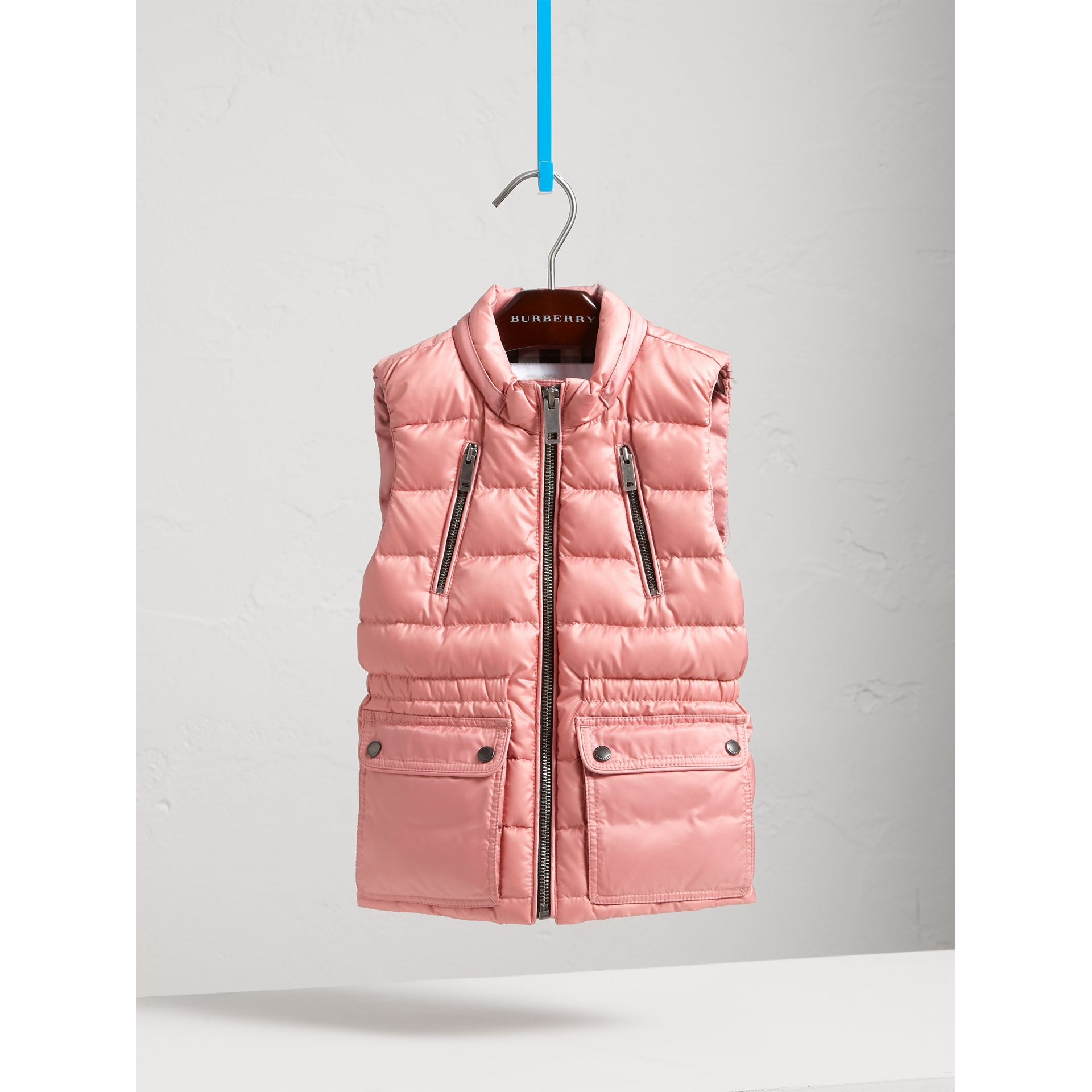 Detachable Hood Down-filled Gilet in Pale Rose - Girl | Burberry United States - gallery image 3