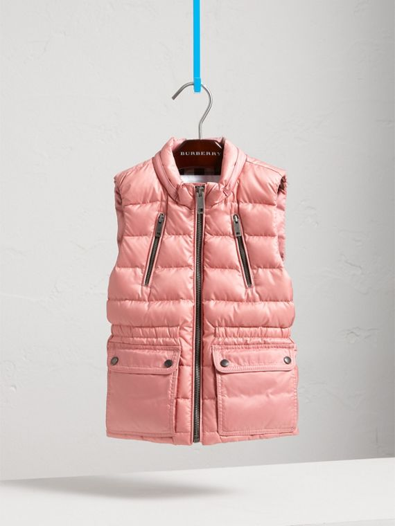Detachable Hood Down-filled Gilet in Pale Rose - Girl | Burberry United States - cell image 2
