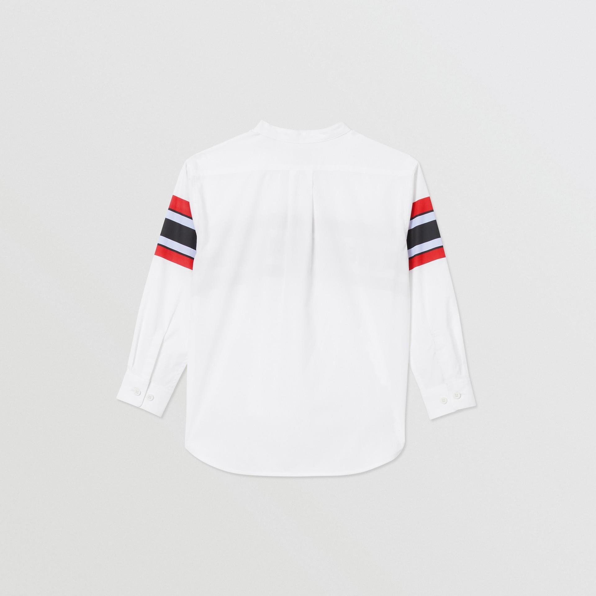 Logo Print Stretch Cotton Poplin Shirt in White | Burberry - gallery image 3