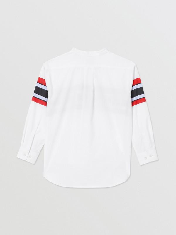 Camisa en popelina de algodón elástico con estampado de logotipo (Blanco) | Burberry - cell image 3