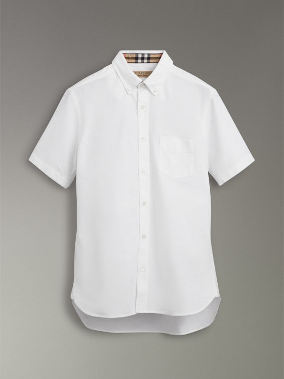 Short-sleeve Cotton Oxford Shirt in White - Men | Burberry - cell image 3