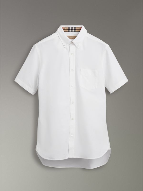 Short-sleeve Cotton Oxford Shirt in White - Men | Burberry United Kingdom - cell image 3