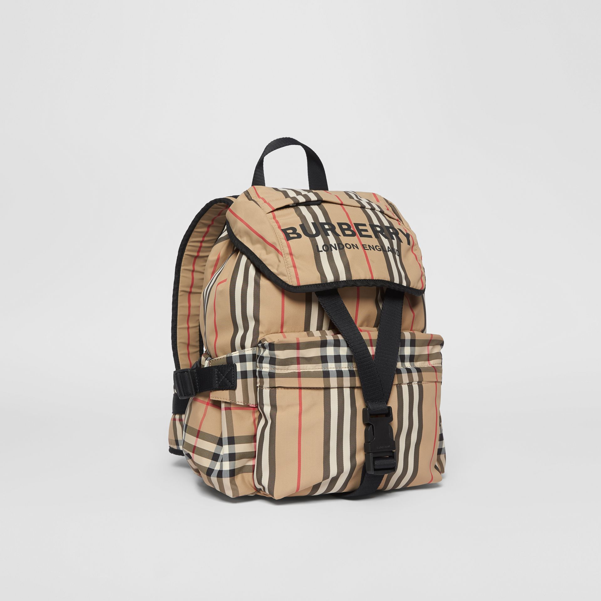 Logo Print Icon Stripe Nylon Backpack in Archive Beige - Women | Burberry United Kingdom - gallery image 6