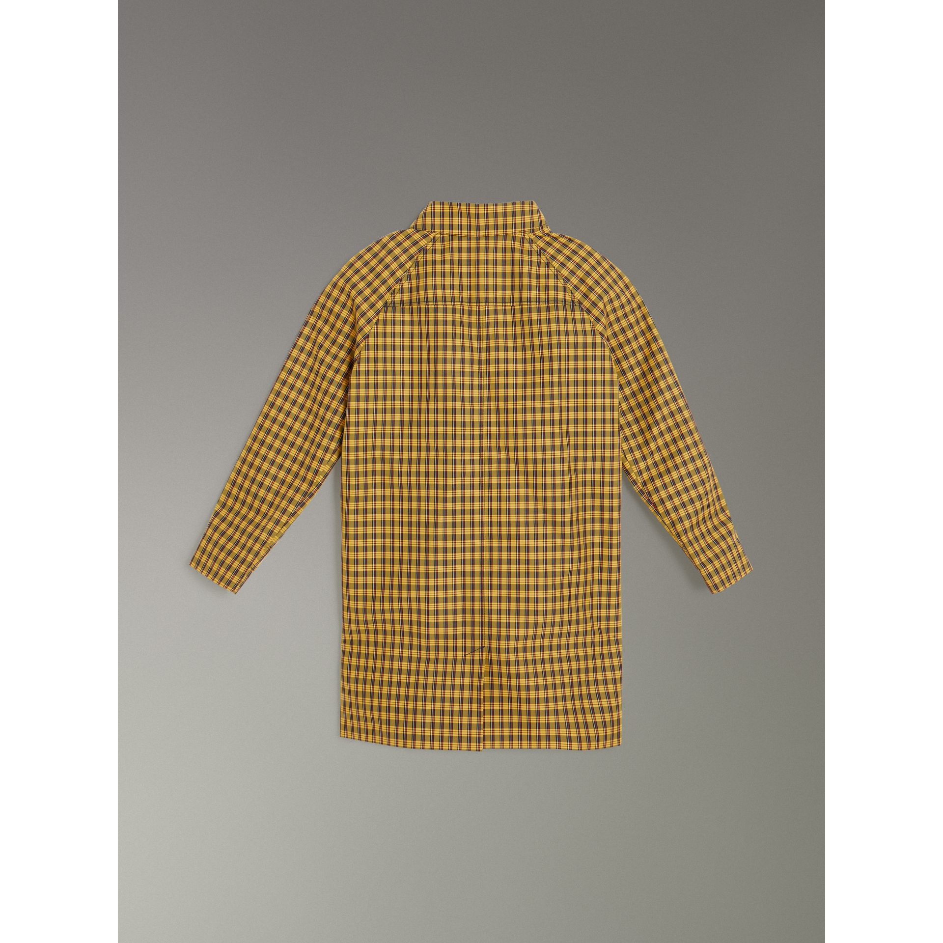 Shrunken Check Cotton Blend Car Coat in Bright Saffron Yellow | Burberry - gallery image 3
