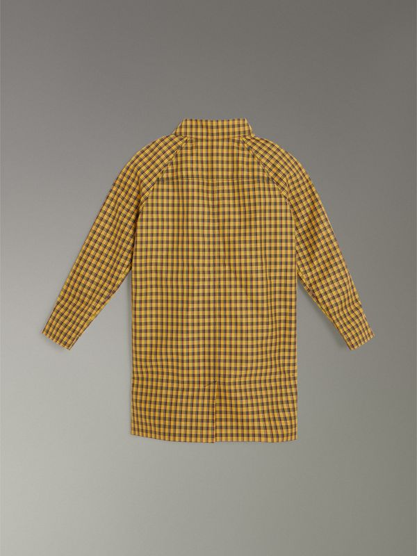 Shrunken Check Cotton Blend Car Coat in Bright Saffron Yellow | Burberry - cell image 3