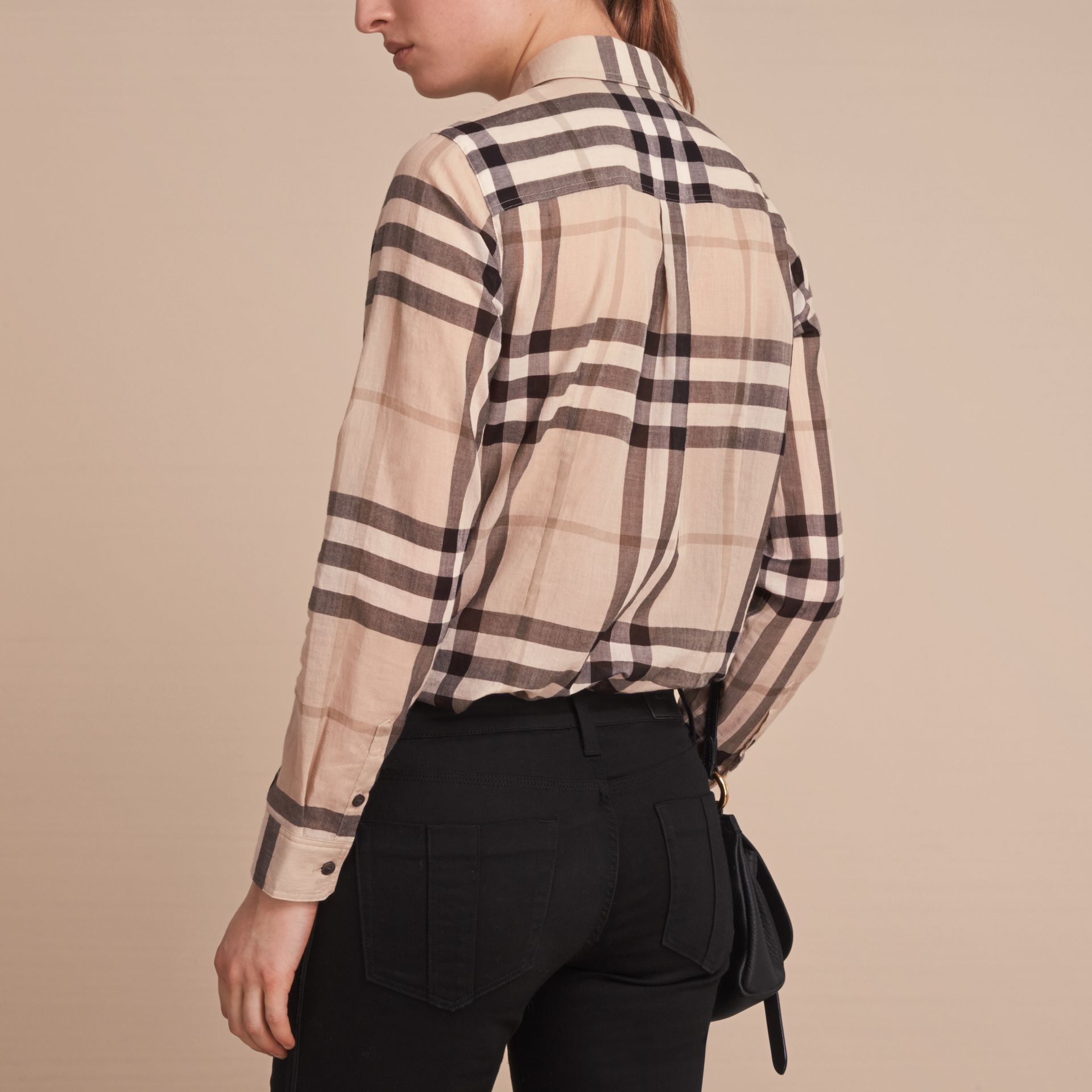 Check Cotton Shirt in Chino - gallery image 3
