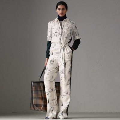 Landmark Print Silk Jumpsuit in White