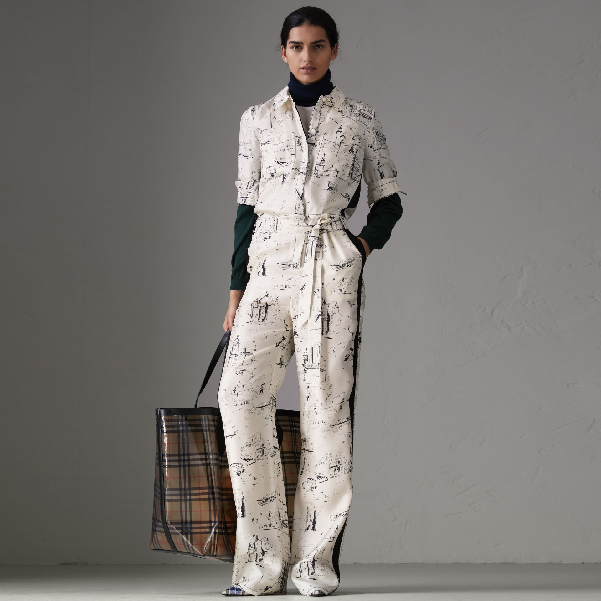 Landmark Print Silk Jumpsuit in Off White/black - Women | Burberry - gallery image 0