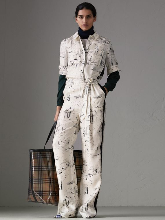 Landmark Print Silk Jumpsuit in Off White/black