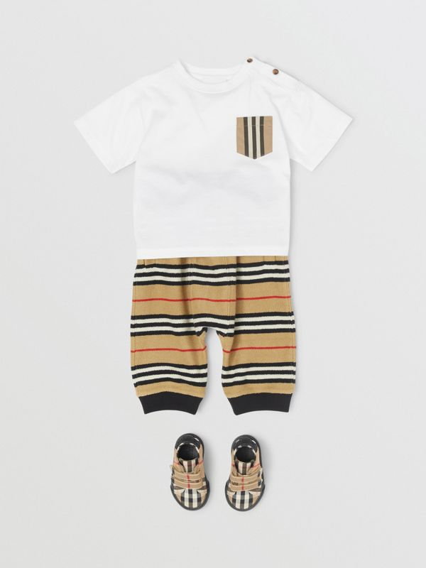 Icon Stripe Pocket Cotton T-shirt in White/archive Beige - Children | Burberry - cell image 2