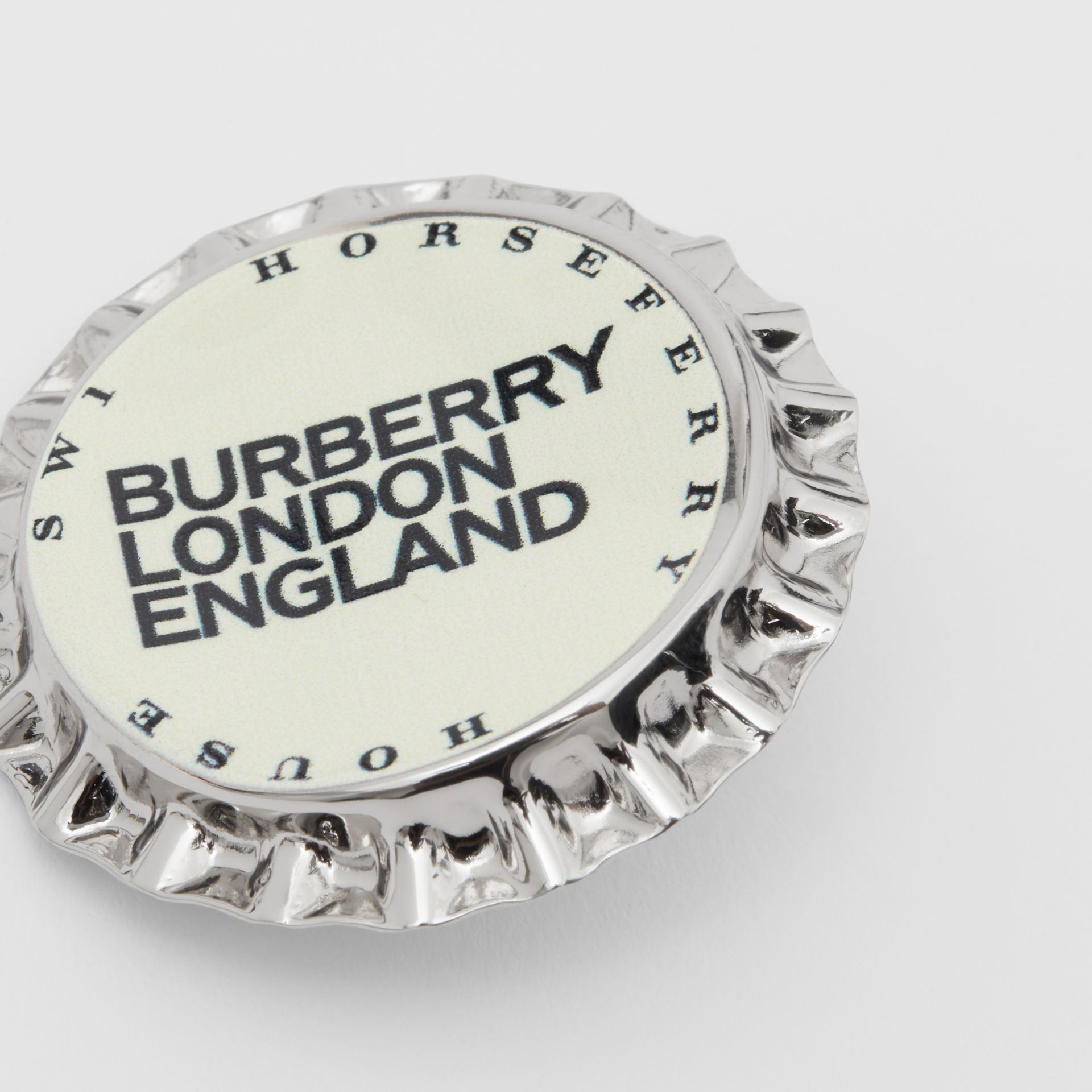 Palladium-plated Bottle Cap Brooch in Palladio | Burberry - gallery image 1