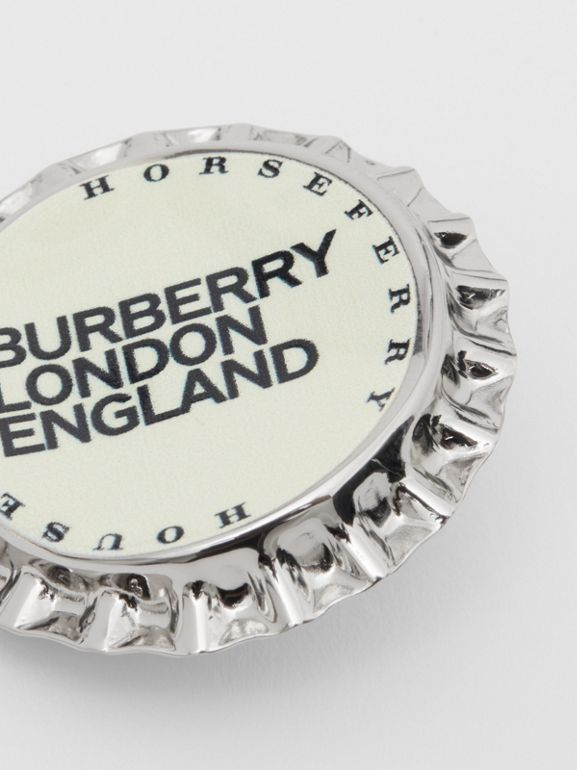 Palladium-plated Bottle Cap Brooch in Palladio | Burberry - cell image 1