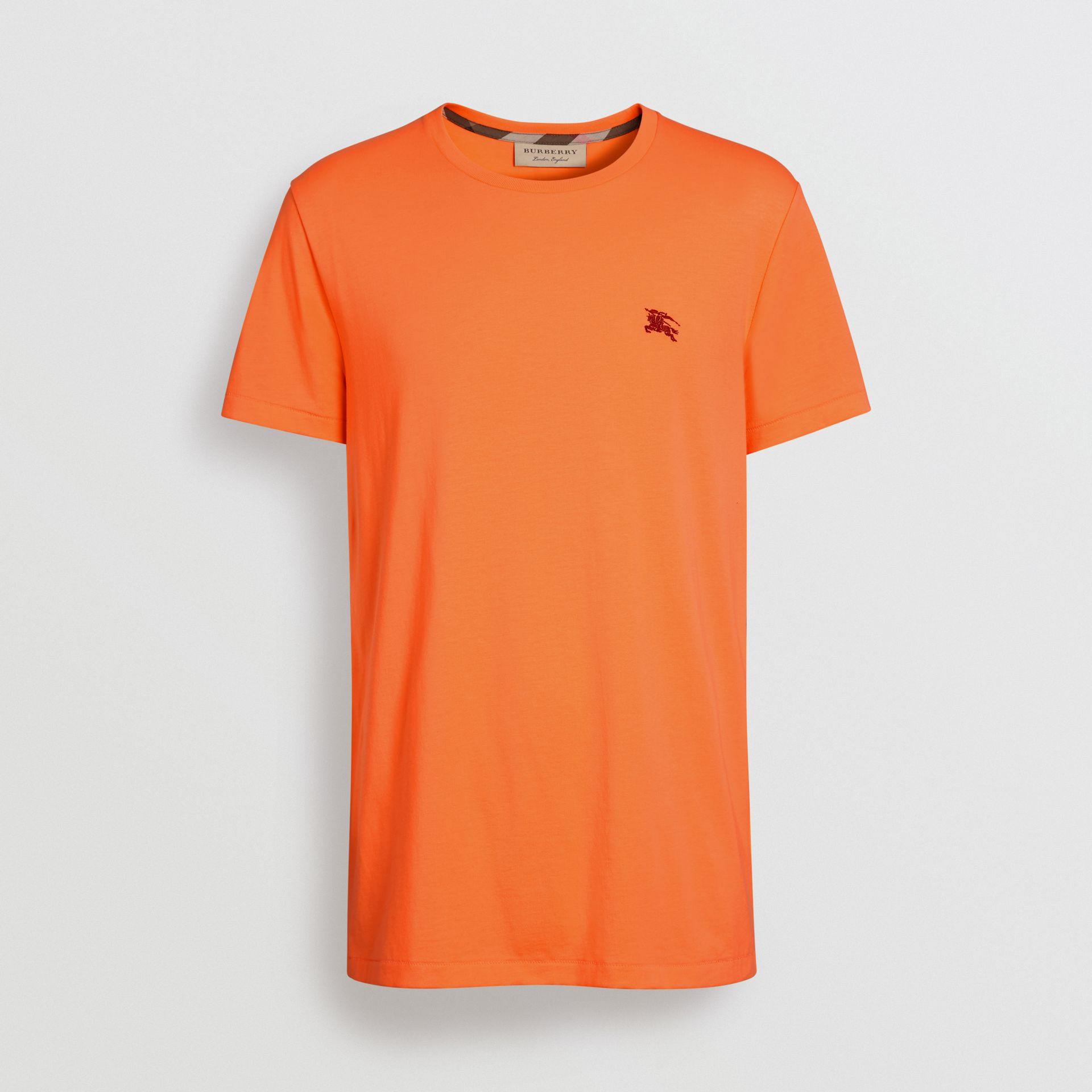 Cotton Jersey T-shirt in Bright Orange - Men | Burberry - gallery image 3