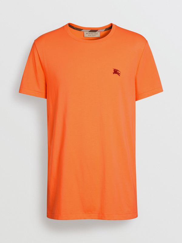 Cotton Jersey T-shirt in Bright Orange - Men | Burberry United States - cell image 3