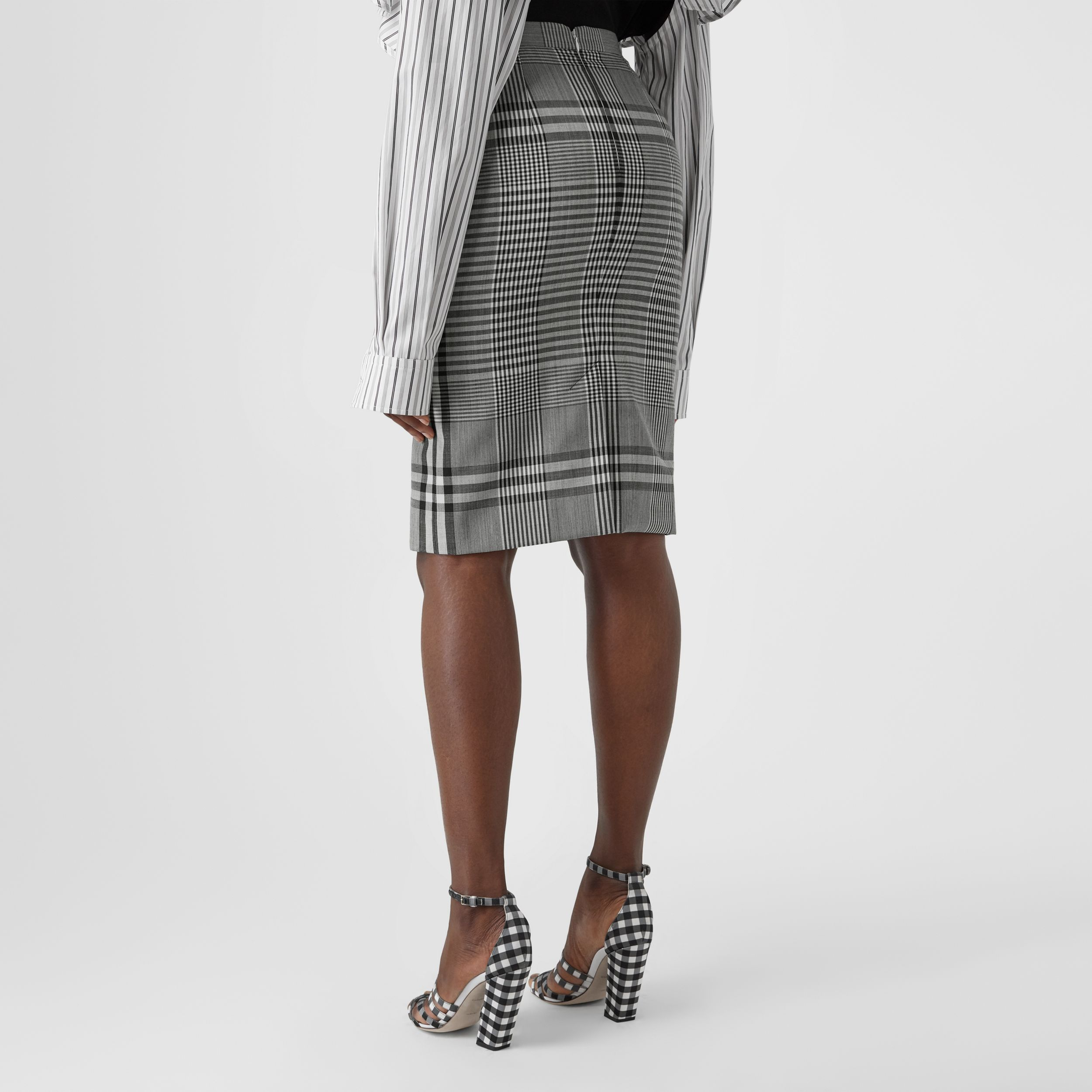 Check Technical Wool Step-through Skirt in Black - Women | Burberry - 2