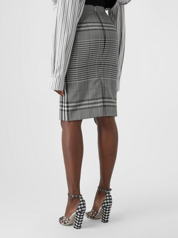 Check Technical Wool Step-through Skirt in Black - Women | Burberry - cell image 1