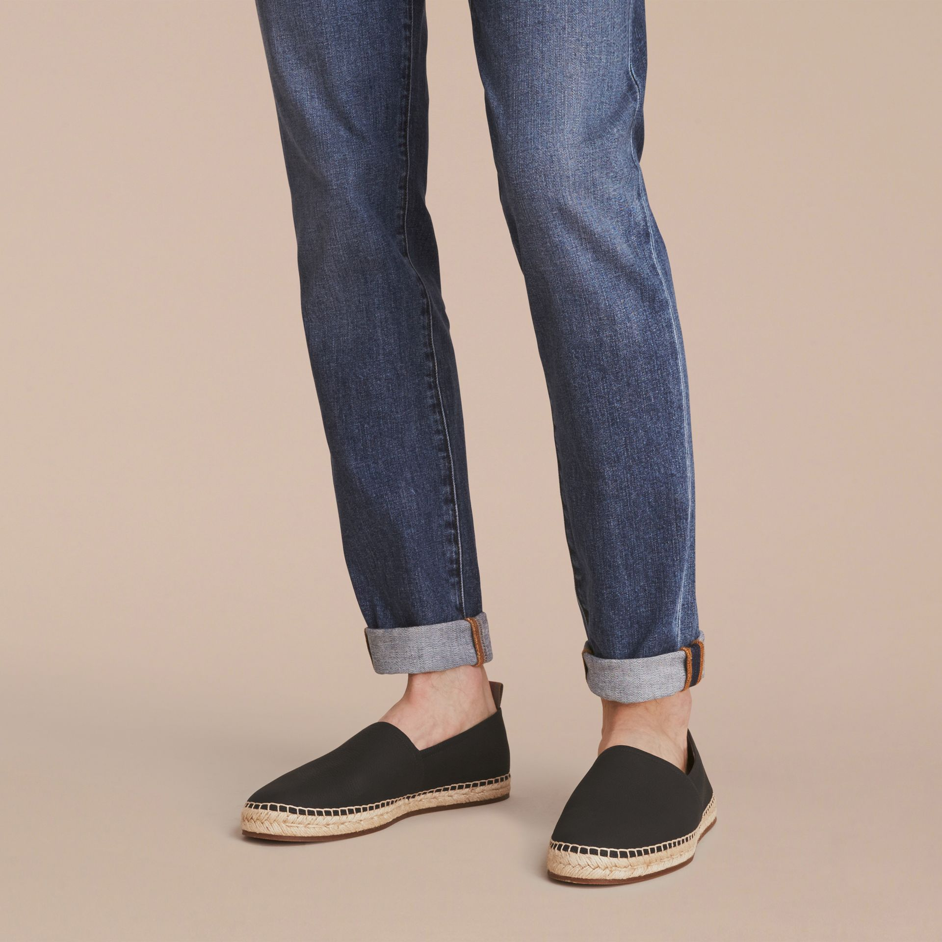 Check Detail Leather Espadrilles Black - gallery image 3