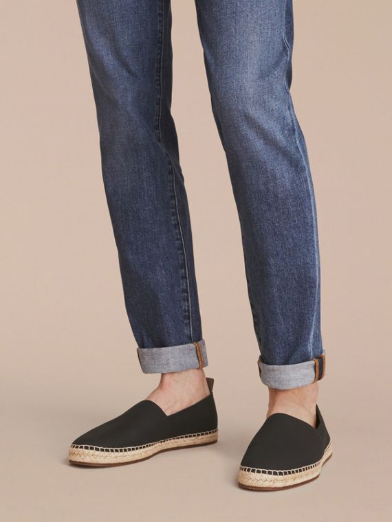 Check Detail Leather Espadrilles Black - cell image 2