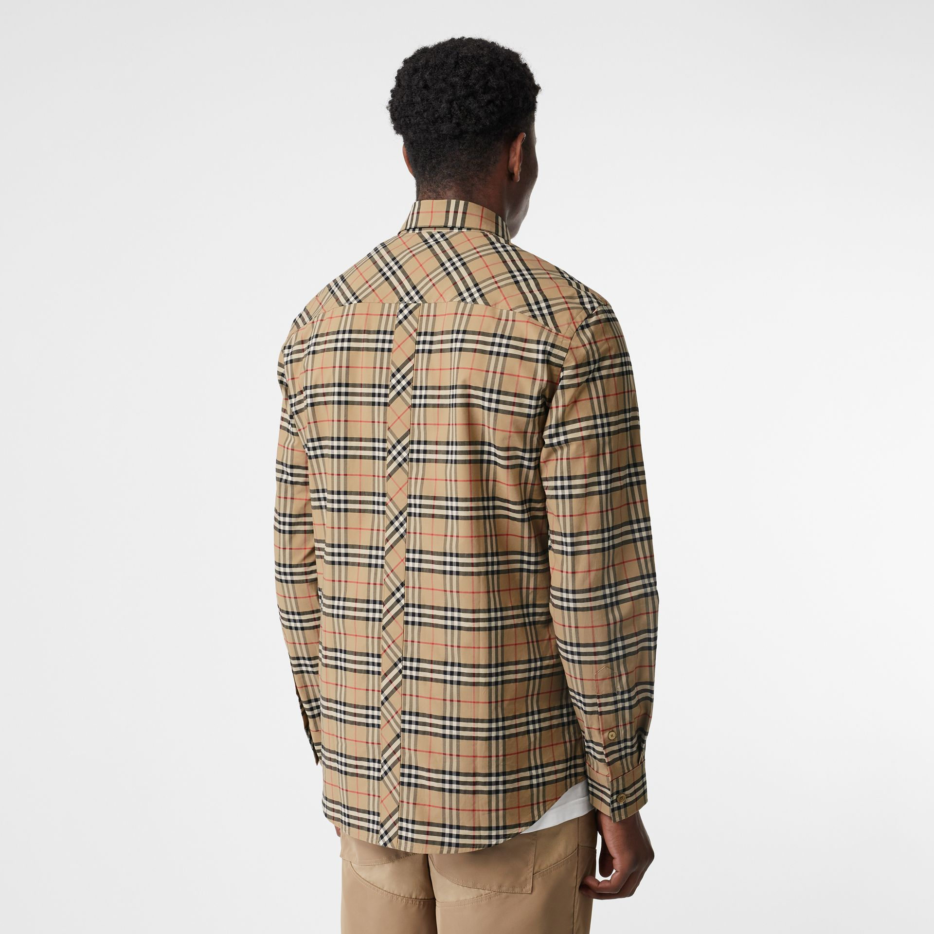 Small Scale Check Stretch Cotton Shirt in Archive Beige - Men | Burberry - gallery image 2