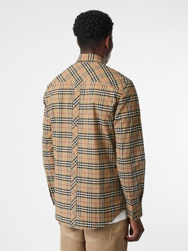 Small Scale Check Stretch Cotton Shirt in Archive Beige - Men | Burberry Australia - cell image 2