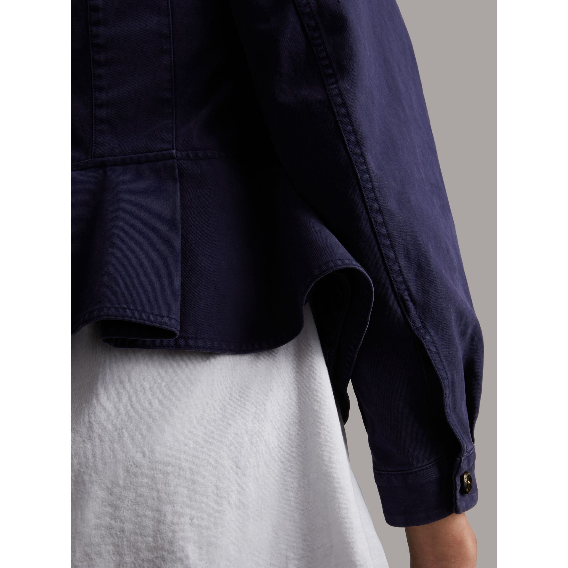 Draped Cotton Utility Jacket in Bright Indigo - Women | Burberry - gallery image 5