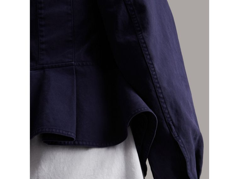Draped Cotton Utility Jacket in Bright Indigo - Women | Burberry - cell image 4