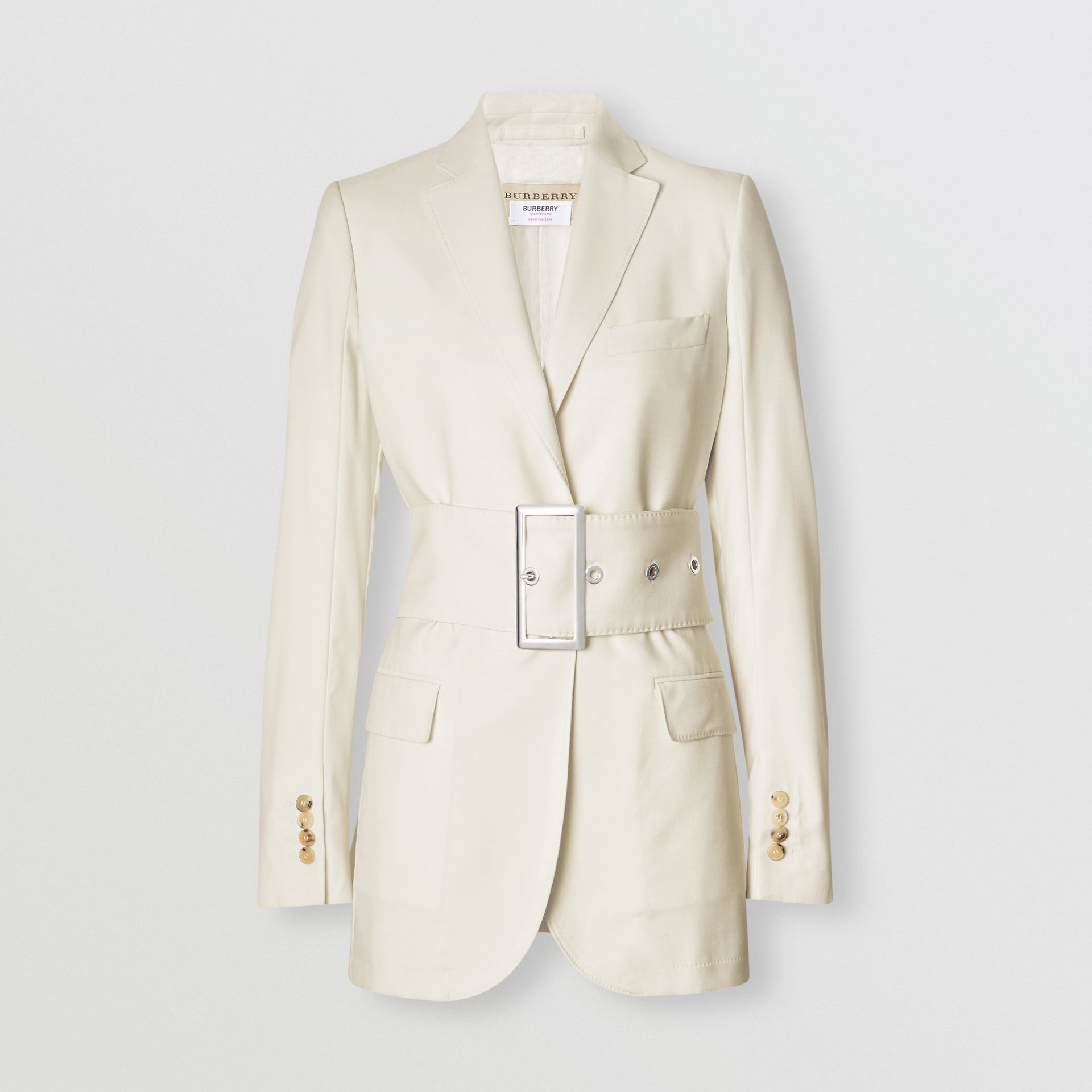 Wool Belted Blazer in White - Women | Burberry Singapore - gallery image 3