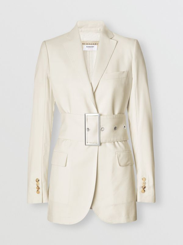 Wool Belted Blazer in White - Women | Burberry United States - cell image 3