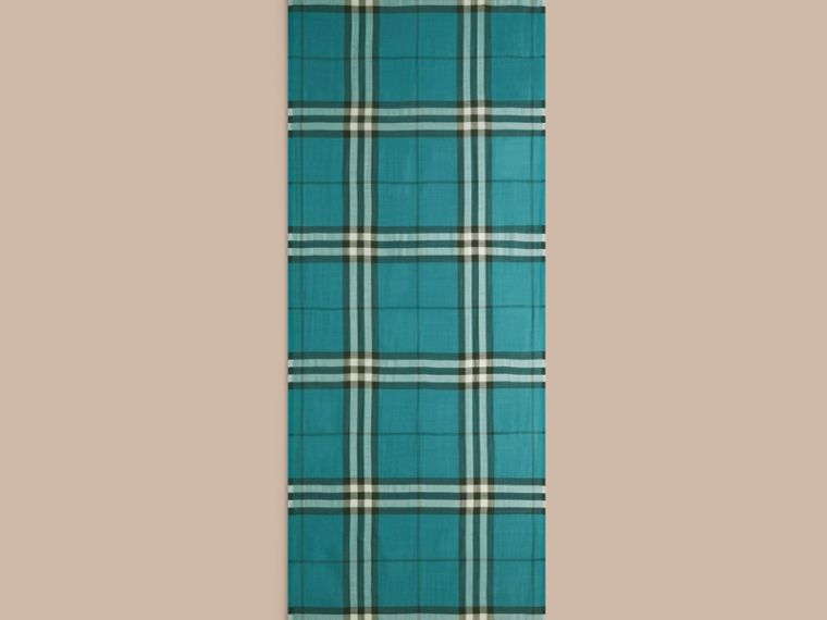 Dark aqua Lightweight Check Wool and Silk Scarf Dark Aqua - cell image 4