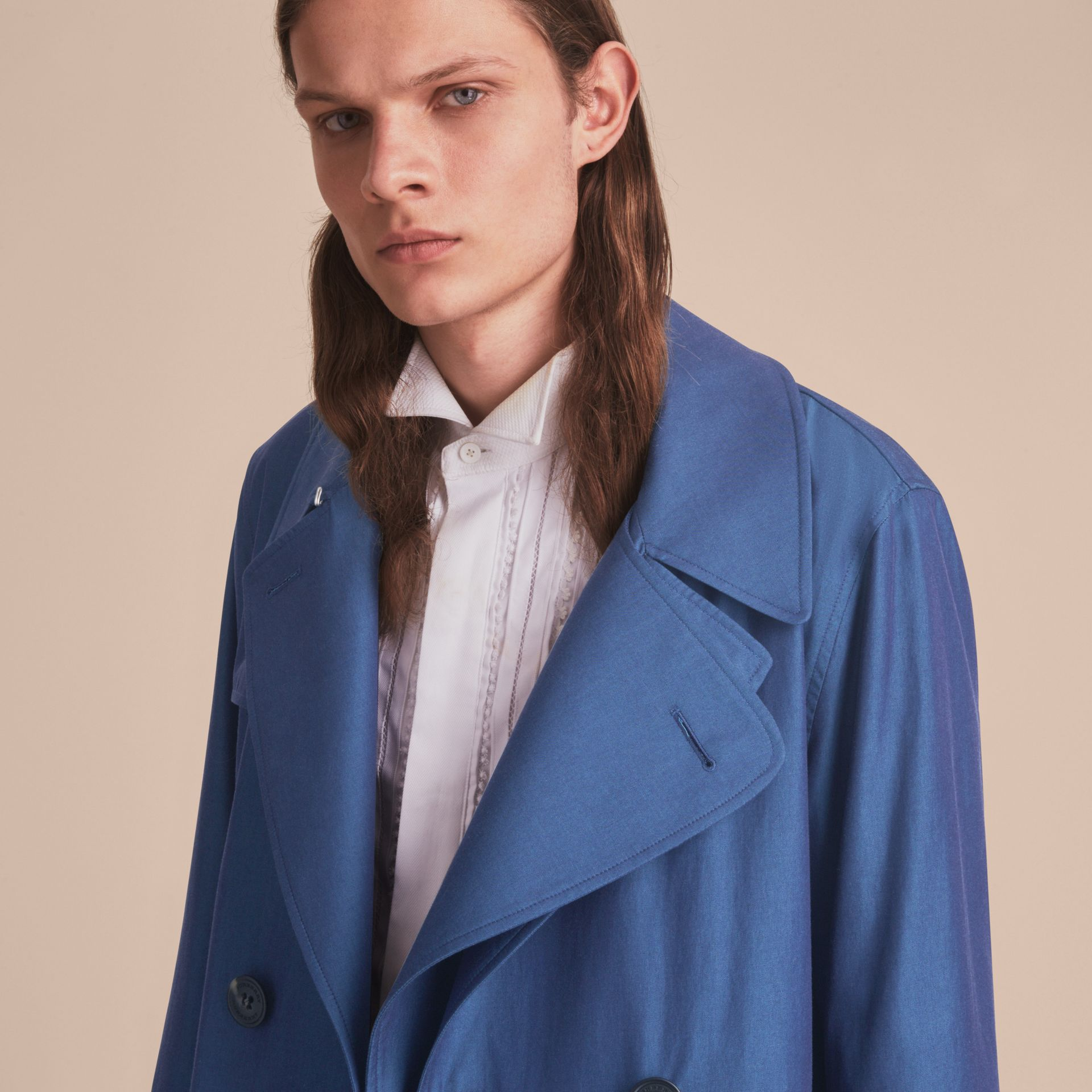 Tropical Gabardine Cotton Trench Coat - gallery image 6