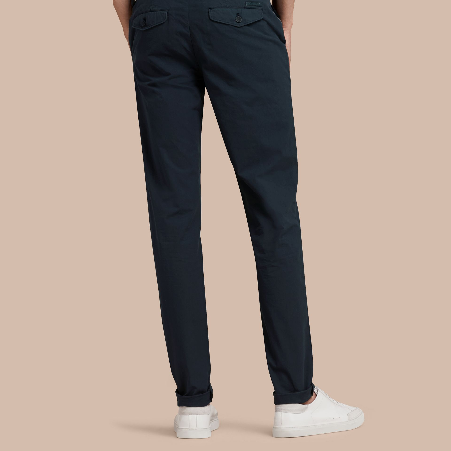 Slim Fit Cotton Poplin Chinos in Indigo - Men | Burberry - gallery image 3