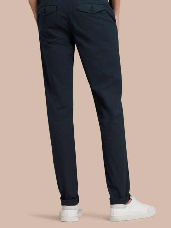 Slim Fit Cotton Poplin Chinos in Indigo - Men | Burberry - cell image 2