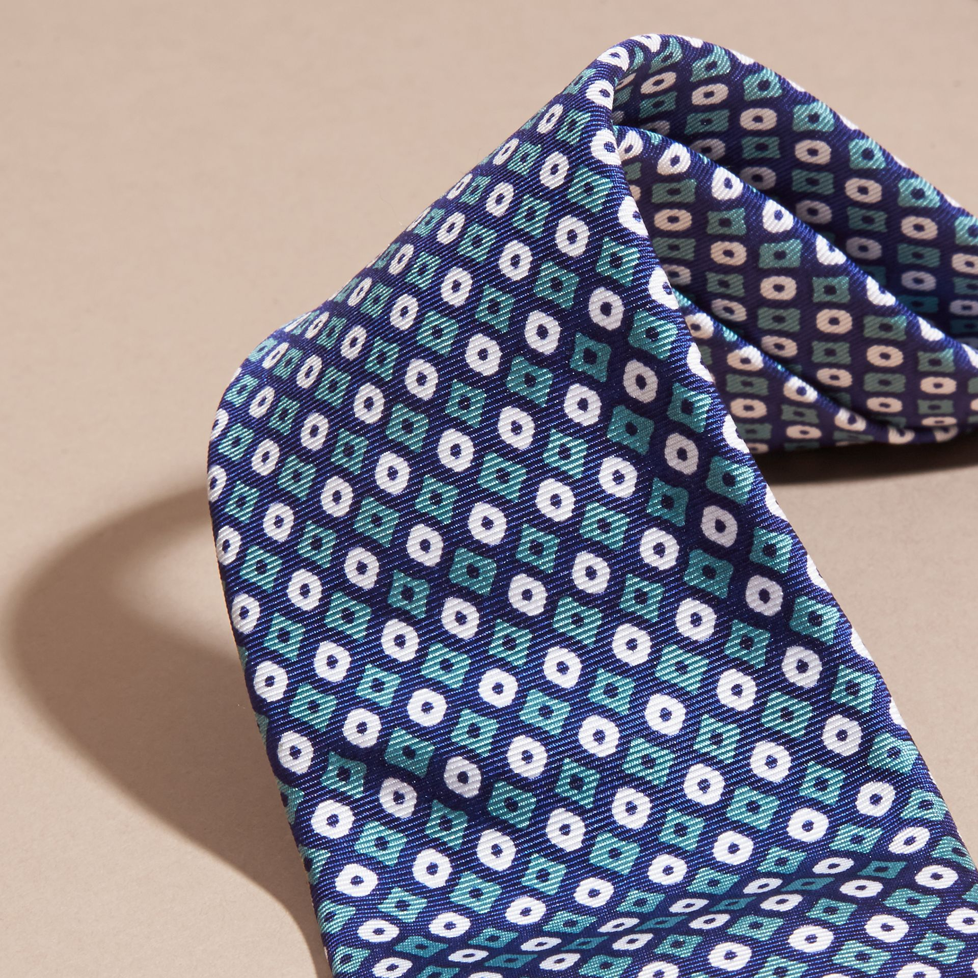 Aqua green Slim Cut Geometric Print Silk Tie Aqua Green - gallery image 2