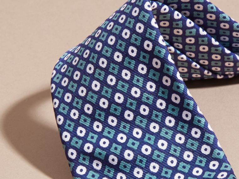 Aqua green Slim Cut Geometric Print Silk Tie Aqua Green - cell image 1