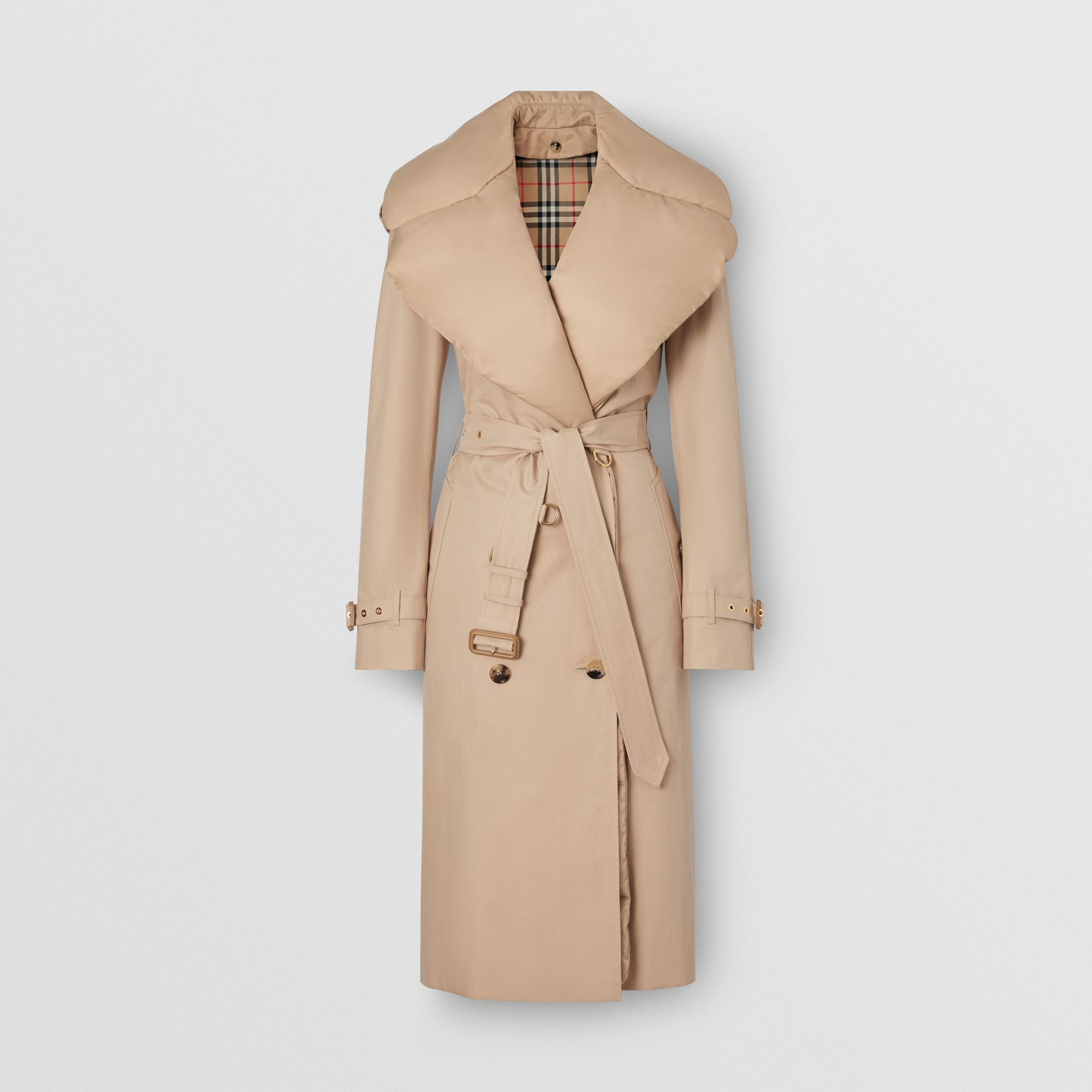 Detachable Collar Cotton Gabardine Trench Coat in Ecru - Women | Burberry United Kingdom - gallery image 3