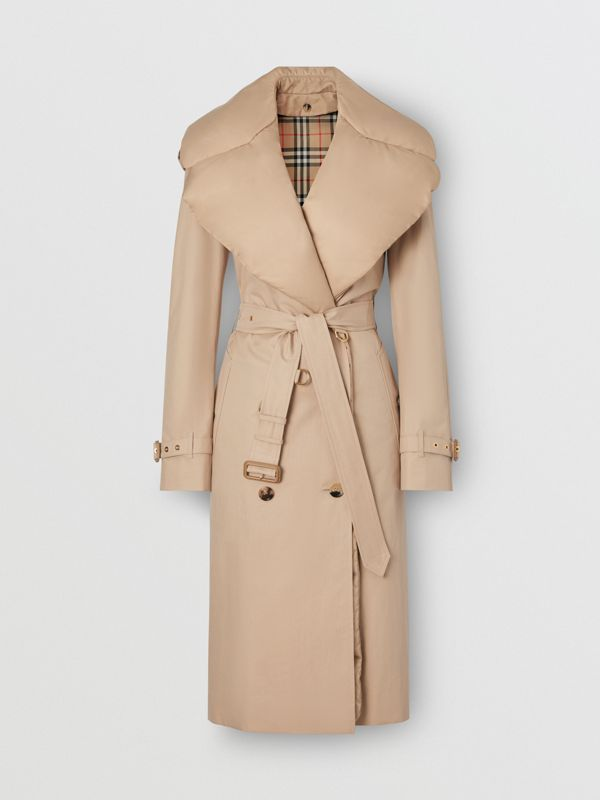 Trench in gabardine di cotone con collo staccabile (Écru) - Donna | Burberry - cell image 3