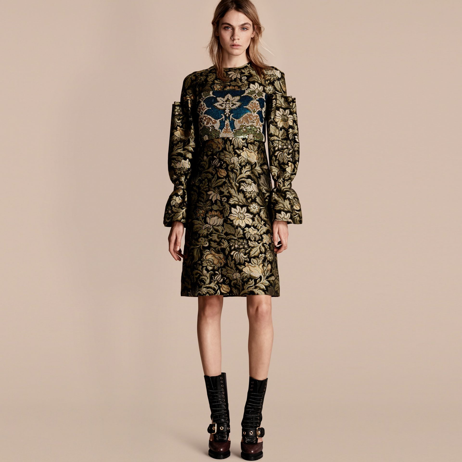 Sage Floral Tapestry Fil Coupé and Sequin Dress - gallery image 1