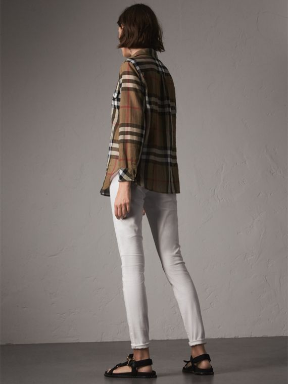 Check Cotton Shirt in Taupe Brown - Women | Burberry Australia - cell image 2