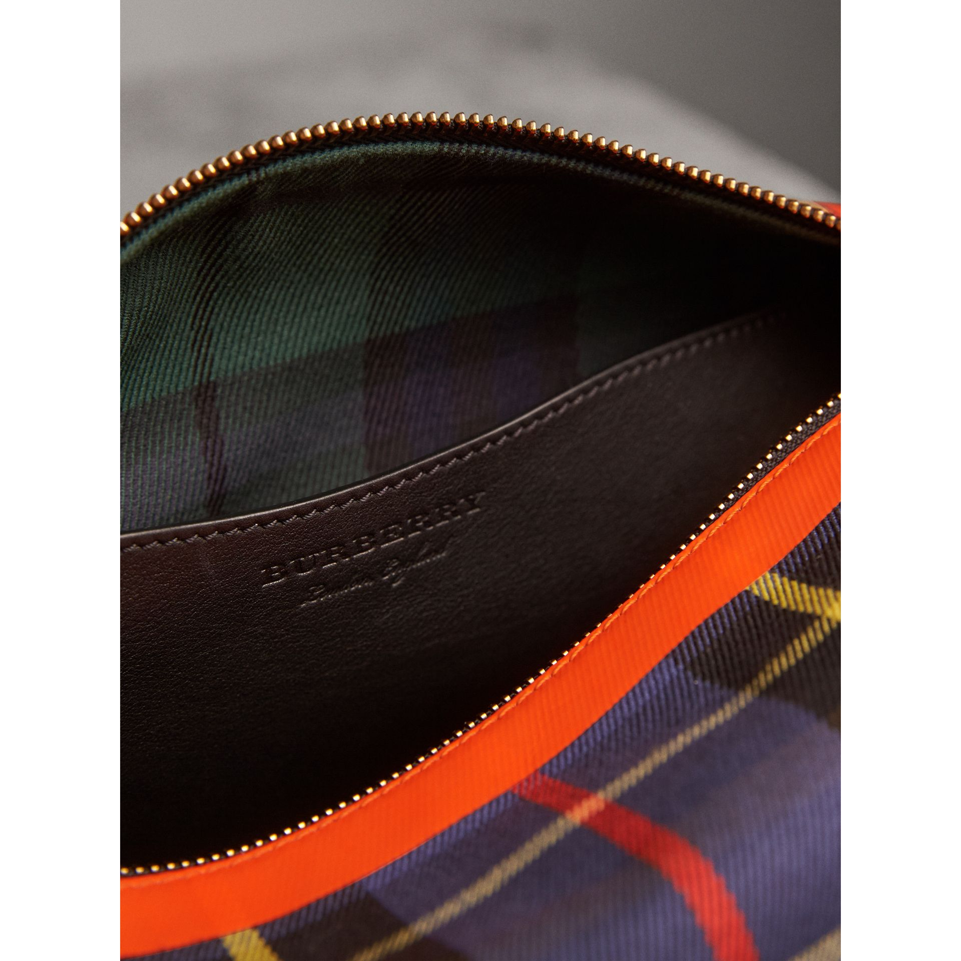 Tartan Cotton Pouch in Cobalt | Burberry - gallery image 4
