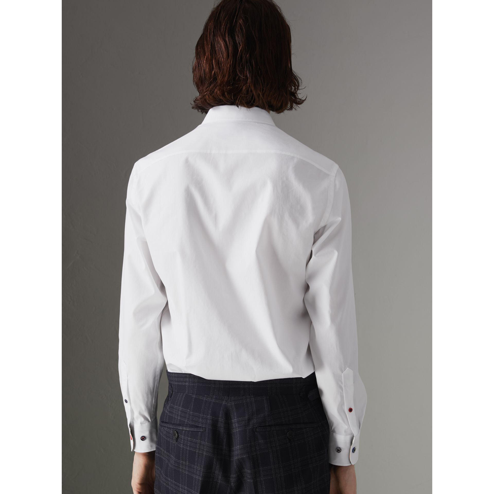 Contrast Button Stretch Cotton Shirt in White - Men | Burberry - gallery image 2