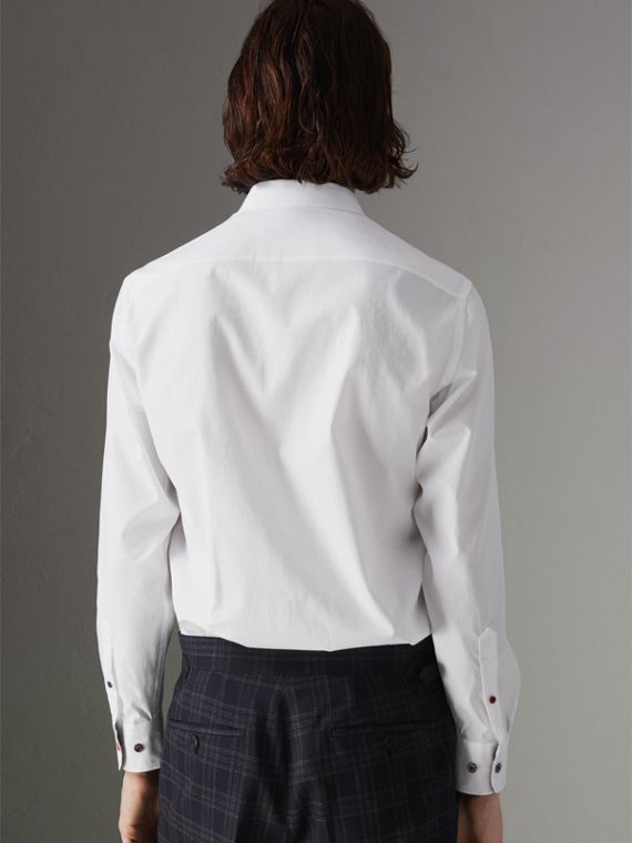 Contrast Button Stretch Cotton Shirt in White - Men | Burberry United Kingdom - cell image 2