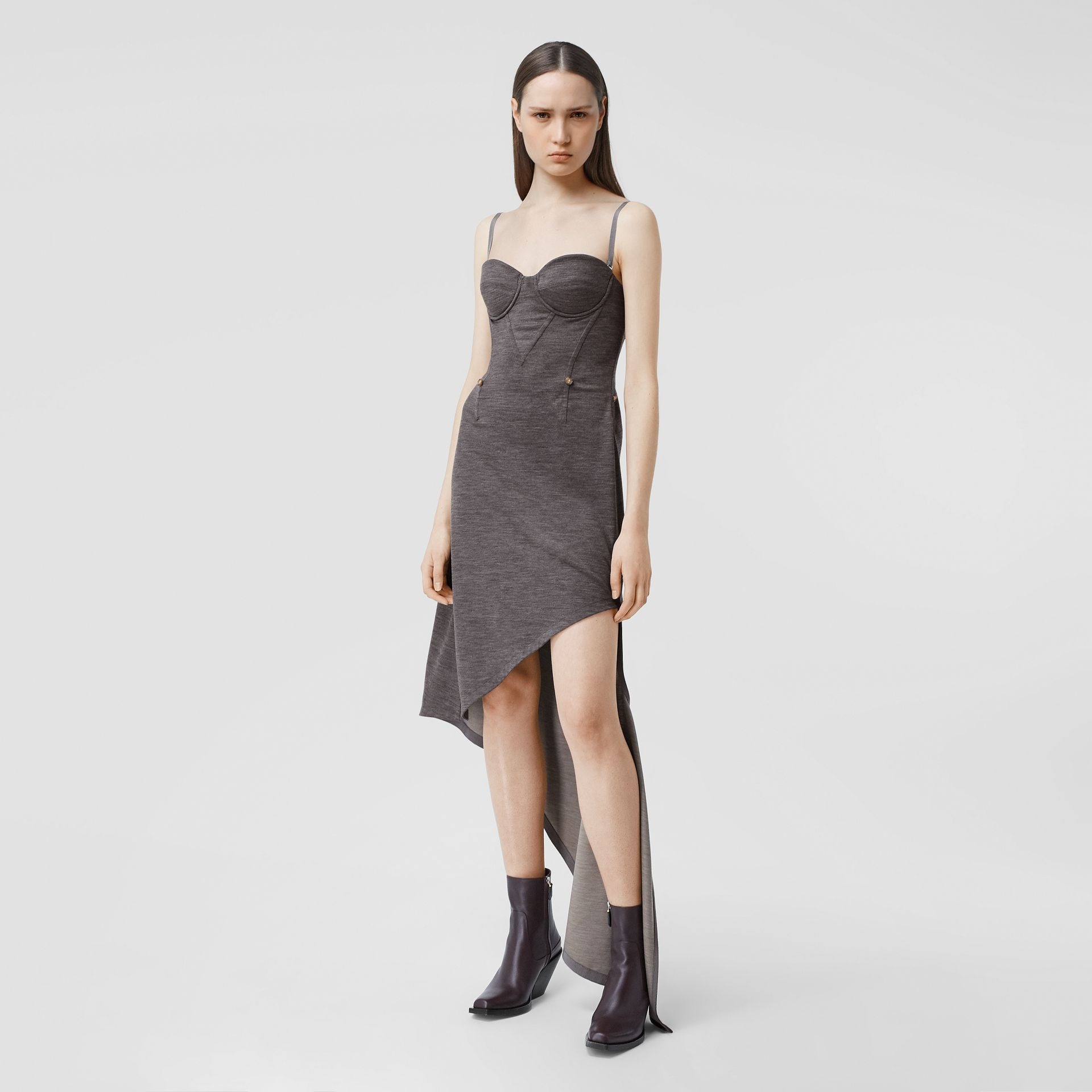 Asymmetric Technical Wool Corset Dress in Charcoal Grey | Burberry United Kingdom - gallery image 4