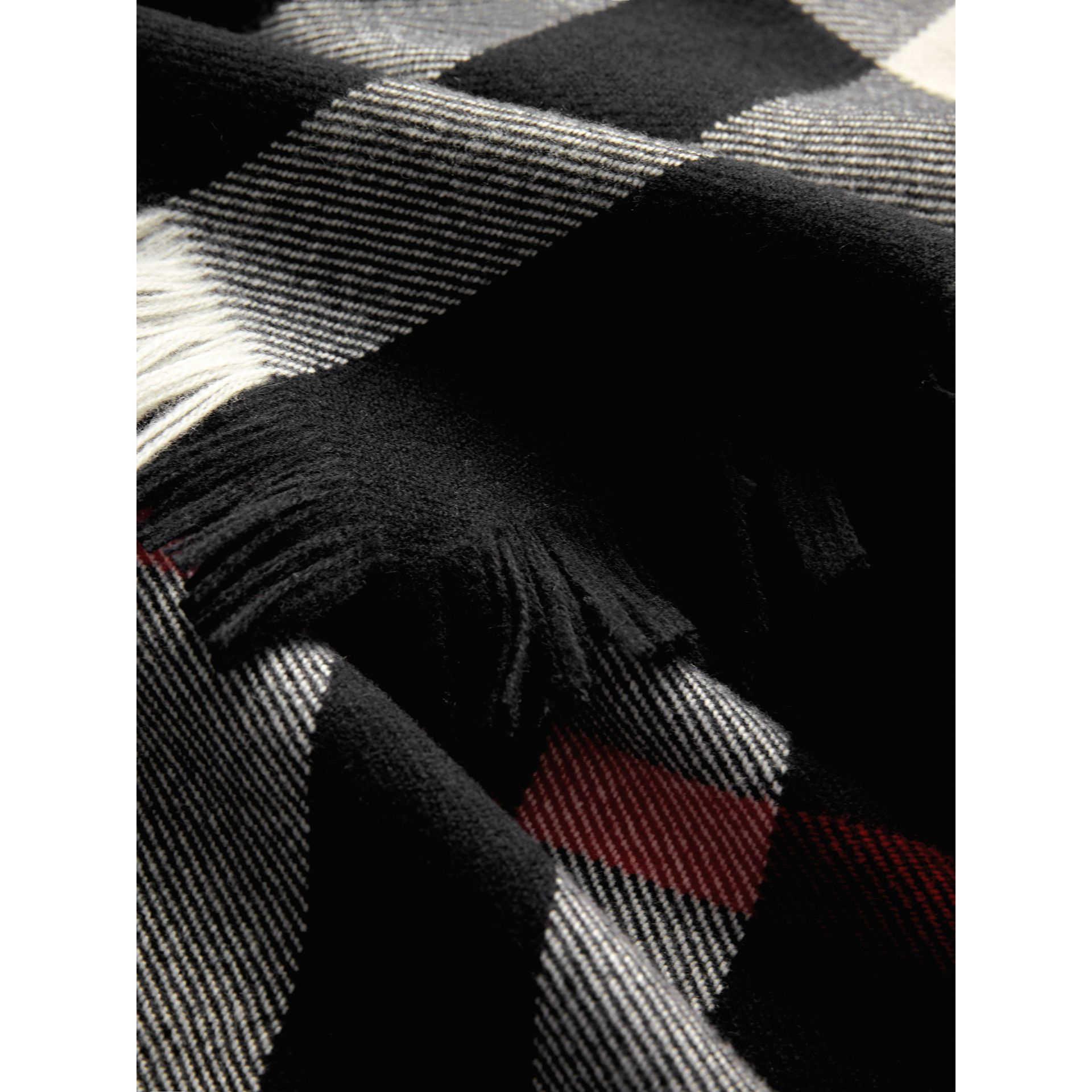 Fringed Check Wool Scarf in Black | Burberry - gallery image 1