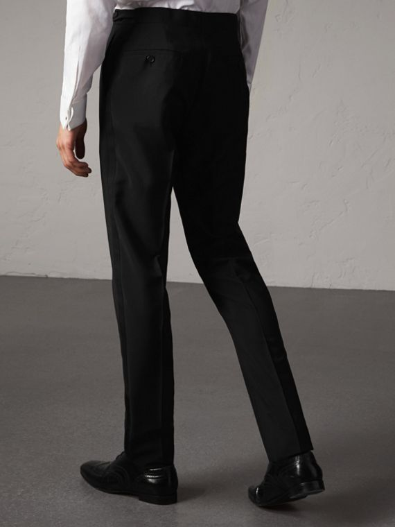 Slim Fit Wool Mohair Evening Trousers in Black - Men | Burberry Singapore - cell image 2