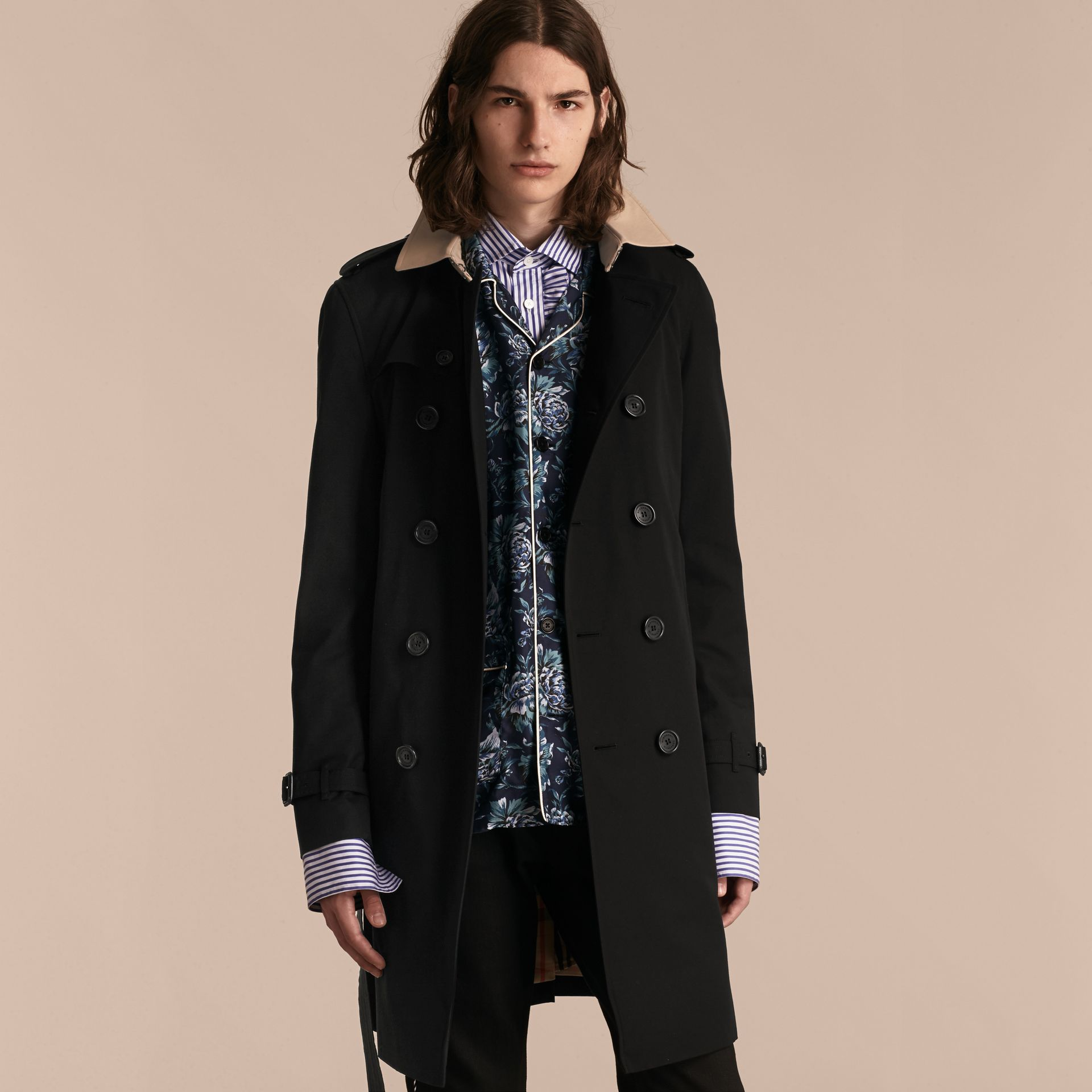 Black Contrast-collar Cotton Gabardine Trench Coat - gallery image 7