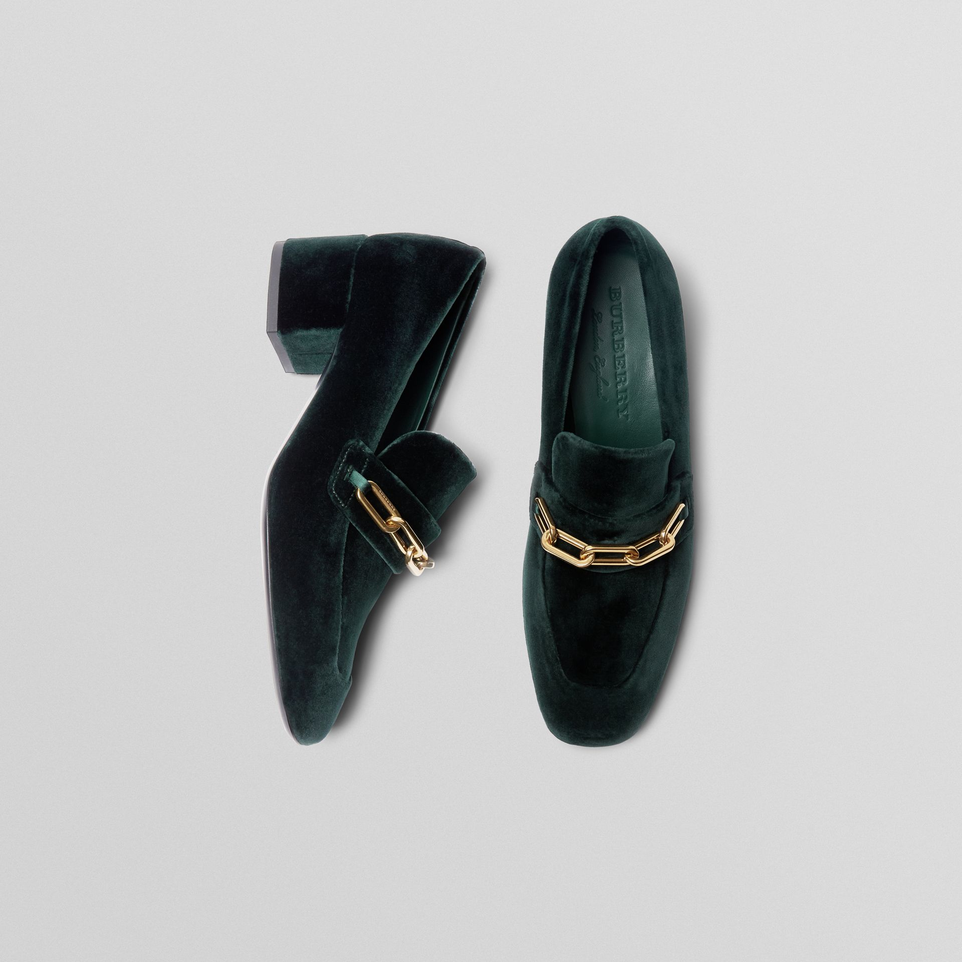 Link Detail Velvet Block-heel Loafers in Dark Forest Green - Women | Burberry - gallery image 0